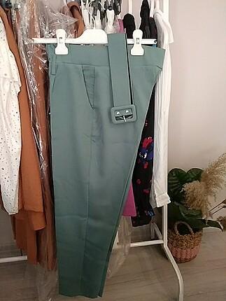 Kumaş pantolon yeşil sıfır