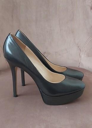Platformlu siyah ayakkabı