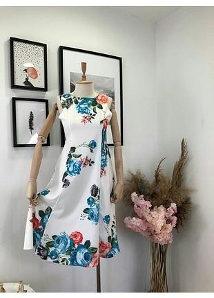 Cicek baskili midi elbise