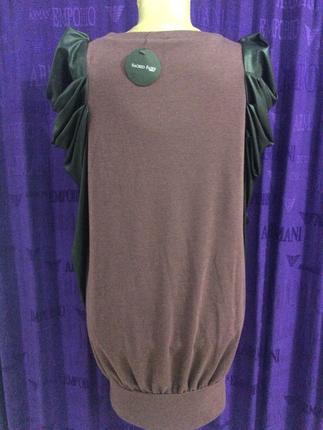 Deri kollu uzun elbise tunik