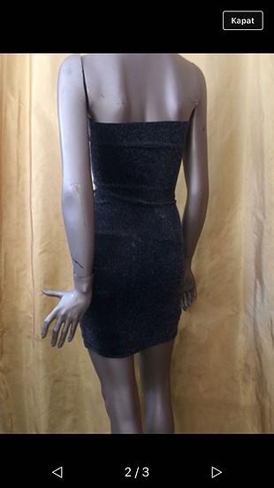 Yaldızlı straplez elbise