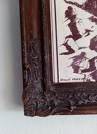 Beden kahverengi Renk Ahşap çerçeveli baskı tablo