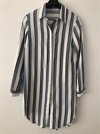 Mavi beyaz çizgili tunik gömlek