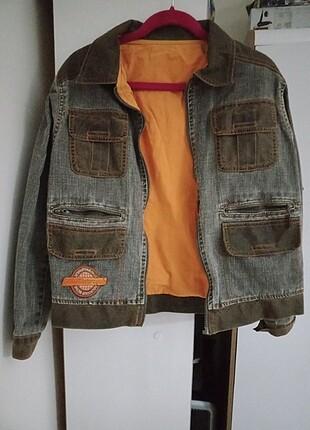 Vintage Motorcu Yamalı Kot Ceket