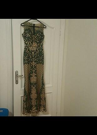 Uzun balık desenli pullu payetli elbise