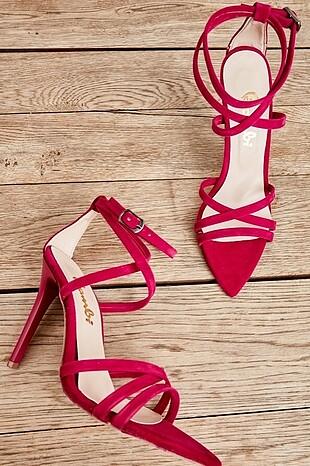 Fuşya kadın topuklu ayakkabı