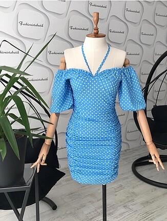 Mavi drapeli elbiseee