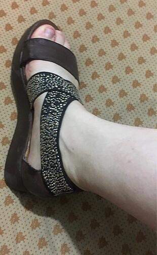 41 Beden kahverengi Renk Dolgu topuk Taşlı Ayakkabı