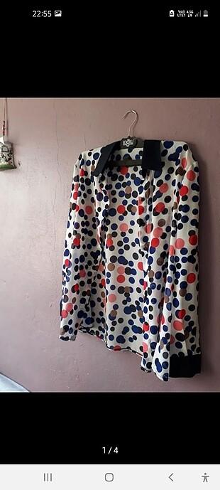 Puantiye desenli büyük beden gömlek