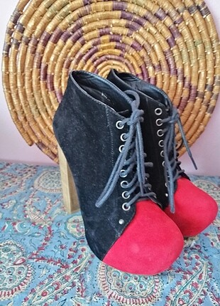 Kirmizi _siyah suet italyan ayakkabı