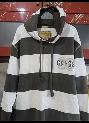 Beyaz haki çizgili erkek sweatshirt