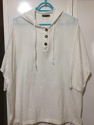 Beyaz Oversize keten gömlek