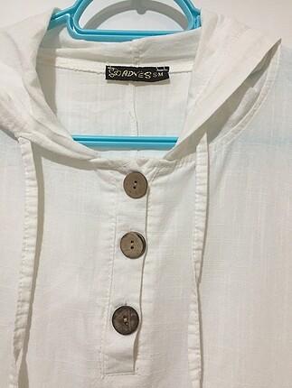 Zara Beyaz Oversize keten gömlek