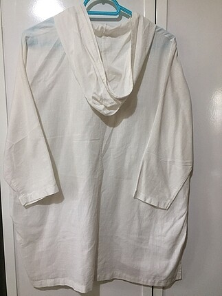m Beden Beyaz Oversize keten gömlek