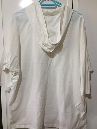 m Beden beyaz Renk Beyaz Oversize keten gömlek