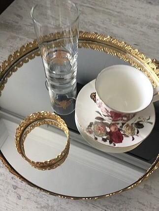 Aynalı tepsi kahve seti