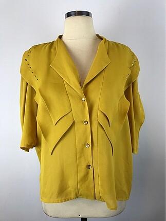 Taş Detaylı Sarı Gömlek
