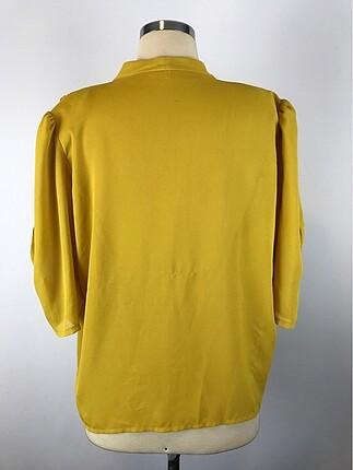 42 Beden Taş Detaylı Sarı Gömlek