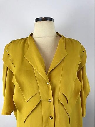 Diğer Taş Detaylı Sarı Gömlek