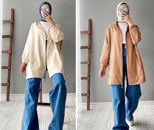 Lila kapşonlu cepli hırka/ceket