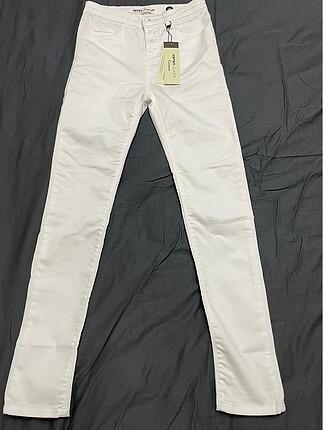 Koton Beyaz Yüksek Bel Likralı Jean