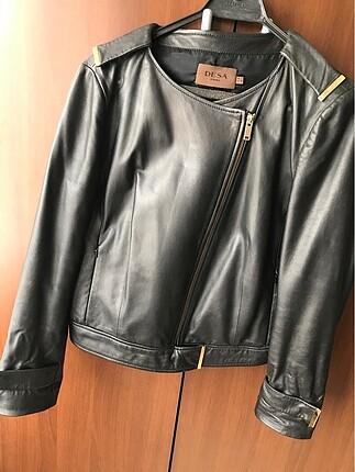 l Beden siyah Renk Deri ceket
