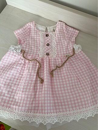 12 ay kiz pembe elbise bebek