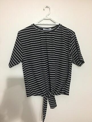 Addax cizgili tshirt/crop