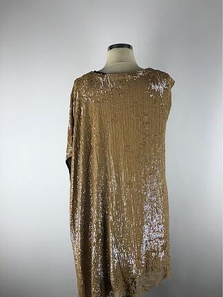 s Beden altın Renk Şık elbise