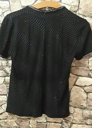 Tasarımcı M ve l uyumlu abiye taşlı simli bluz