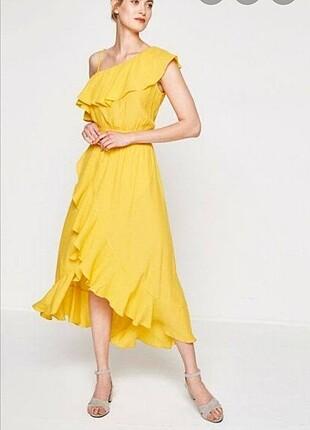 Sarı şık elbise