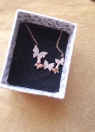 rose renk gümüş kolye
