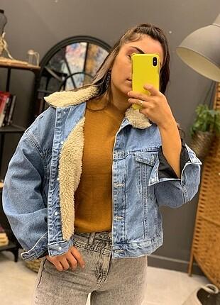 Mango İçi kürklü kot ceket