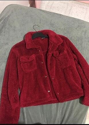 Kırmızı peluş kürk ceket mont