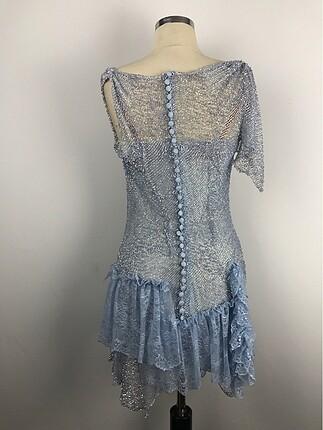 36 Beden mavi Renk Kısa Tasarım Elbise