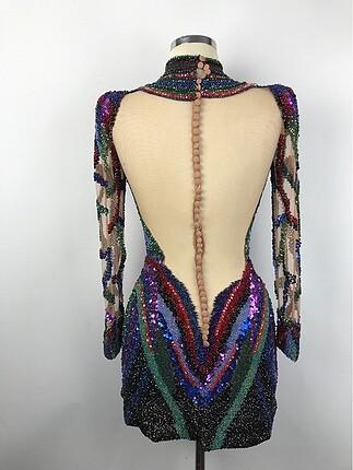36 Beden çeşitli Renk Kısa Tasarım Elbise