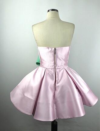 36 Beden pembe Renk Straplez Tasarım Elbise