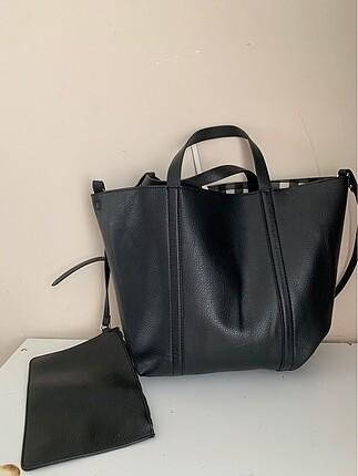 Zara kendinden cüzdanlı askılı büyük çanta