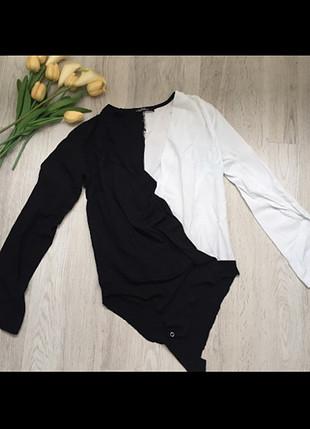 Zara Kruvaze Siyah-Beyaz Bluz