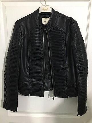 koton siyah deri ceket hiç kullanılmamış