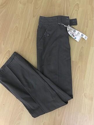 etiketli keten pantolon