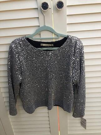 Zara payetli bluz