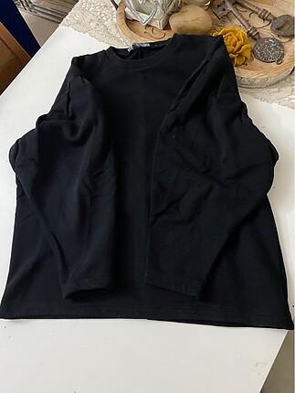 L/40 Siyah kolları kabarık tarz sweetshirt
