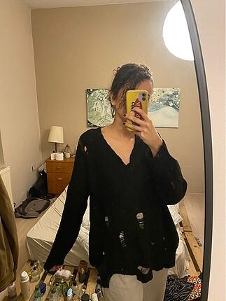 Collezione siyah yırtık detaylı kazak