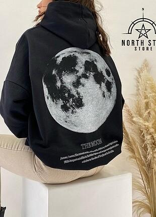Moon Sırt baskılı oversize Sweatshirt