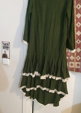 Tasarım vintage haki elbise