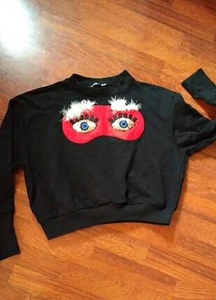 Sweatshirt siyah penye