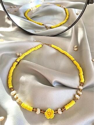 Sarı çiçekli incili fimo kolye