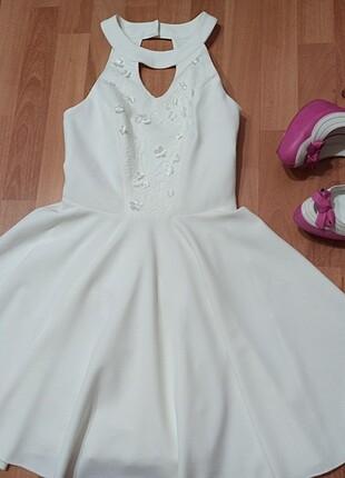 34 beden beyaz gece elbisesi