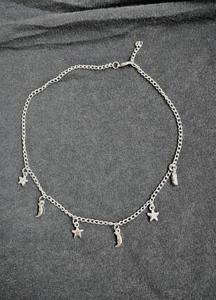 ay ve yıldız zincir chocker kolye